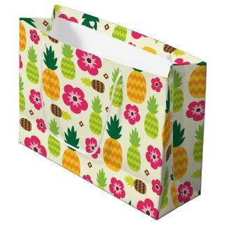 パイナップル熱帯夏の継ぎ目が無いパターン ラージペーパーバッグ