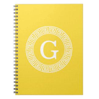 パイナップル白いギリシャ人の鍵のRndフレームのイニシャルのモノグラム ノートブック