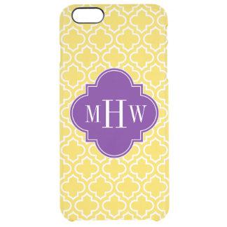 パイナップル白いモトッコ人#6の紫色3のInitのモノグラム クリア iPhone 6 Plusケース
