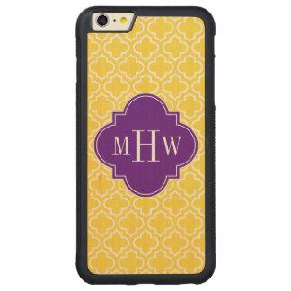 パイナップル白いモトッコ人#6の紫色3のInitのモノグラム CarvedメープルiPhone 6 Plusバンパーケース