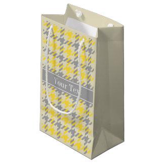 パイナップル白いDkの灰色の千鳥格子のな一流のモノグラム スモールペーパーバッグ