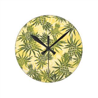 パイナップル迷彩柄のハワイの柱時計 ラウンド壁時計