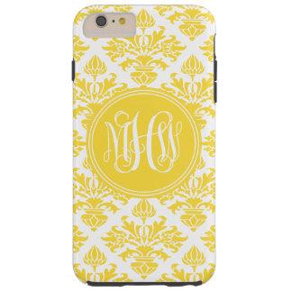 パイナップル重量のダマスク織#3の黄色いつる植物の原稿のモノグラム TOUGH iPhone 6 PLUS ケース