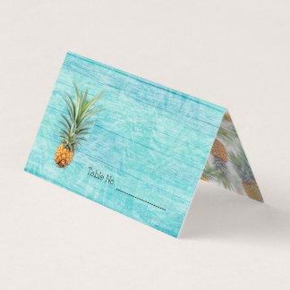パイナップル青く素朴なハワイのテント張りの護衛カード プレイスカード
