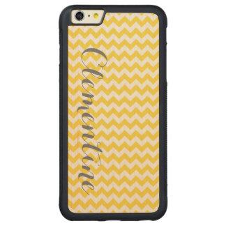 パイナップル黄色く白いシェブロンの灰色の原稿のモノグラム CarvedメープルiPhone 6 PLUSバンパーケース