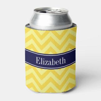 パイナップルLt Yellow LGシェブロン海軍名前のモノグラム 缶クーラー