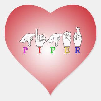 パイパーの一流の印ASL FINGERSPELLED ハートシール