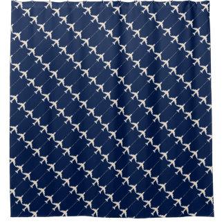 パイロットのための青いパターン-飛行機の白い飛行機 シャワーカーテン