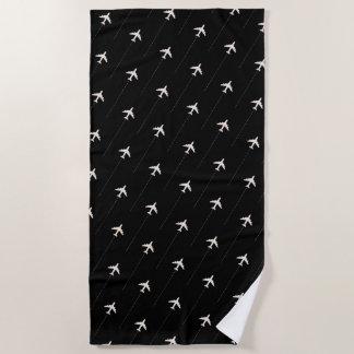 パイロットのための飛行機パターン黒のビーチタオル ビーチタオル