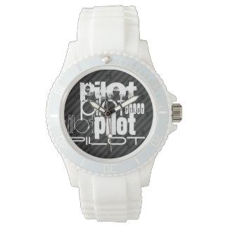 パイロット; 黒及びダークグレーは縞で飾ります 腕時計