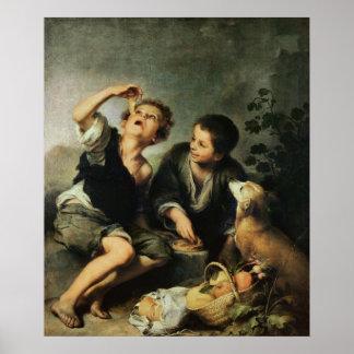 パイ1670-75年を食べている子供 ポスター