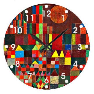 パウル・クレーの芸術: 城および日曜日のKleeの絵画 ラージ壁時計