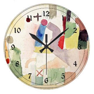 パウル・クレーの芸術: 赤い悲しい水彩画 ラージ壁時計