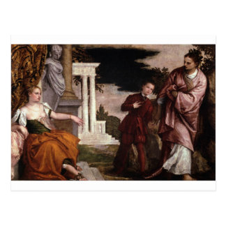 パオロ・ヴェロネーゼ著美徳と悪間の青年 ポストカード