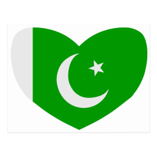 パキスタンのハート形の旗 ポストカード