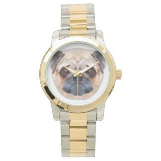 パグののこ仕上げハンマーの特大ツートーンブレスレット 腕時計