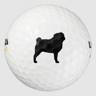 パグのシルエット ゴルフボール