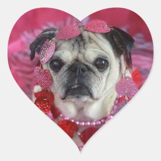 パグのバレンタインのハートのステッカー ハートシール