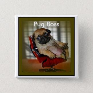 パグのボス 5.1CM 正方形バッジ