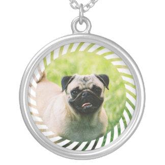 パグの子犬のネックレス シルバープレートネックレス