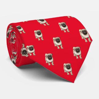 パグの子犬パターンカスタムな背景色 ネクタイ