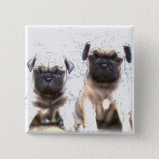 パグの子犬ボタン 5.1CM 正方形バッジ