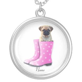 パグの子犬 シルバープレートネックレス