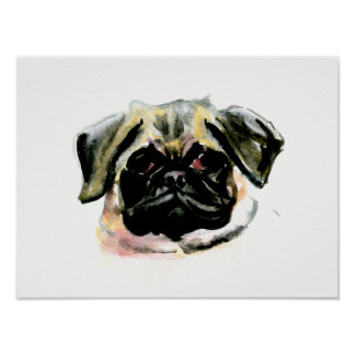 パグの水彩画の絵画 ポスター