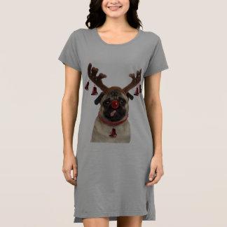 パグの(雄ジカの)枝角-クリスマスのパグ-メリークリスマス ドレス