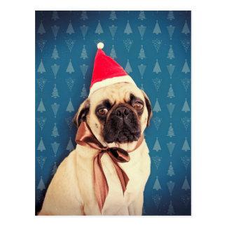 パグのLolaのクリスマスカード ポストカード