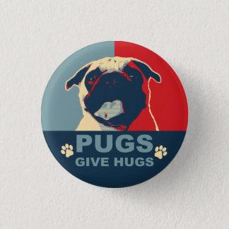 パグは抱擁ボタンを与えます 3.2CM 丸型バッジ