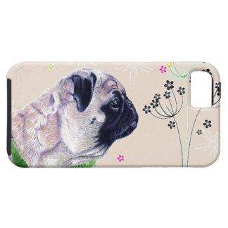 パグ及び花のiPhone 5の場合 iPhone SE/5/5s ケース