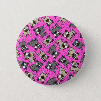 パグ点(ピンク) 5.7CM 丸型バッジ