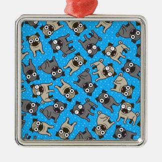 パグ点(青い) メタルオーナメント