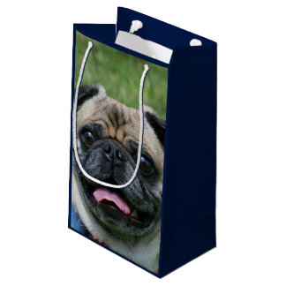 パグ犬のギフトバッグ スモールペーパーバッグ