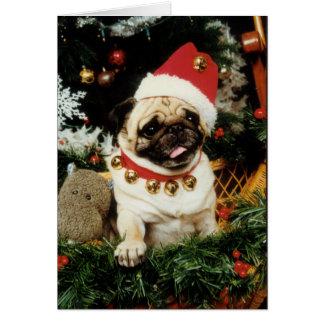 パグ犬のサンタのクリスマスカード カード