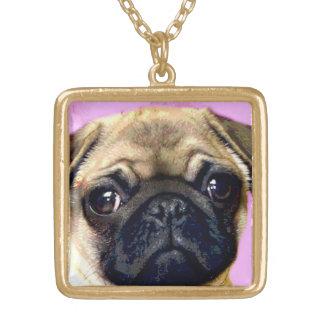 パグ犬のネックレス ゴールドプレートネックレス