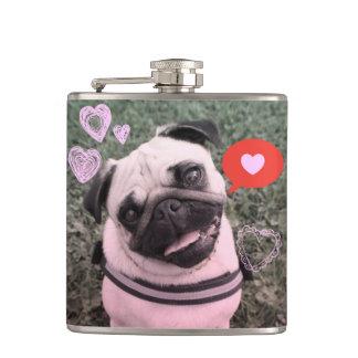 パグ犬のバレンタインのフラスコ フラスク