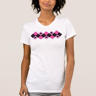パグ犬のパンクロックのアーガイル Tシャツ