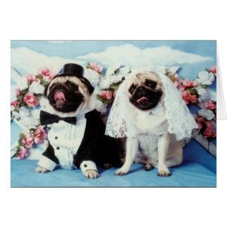 パグ犬の結婚式の招待状 カード
