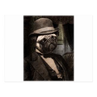 パグ犬の軽快な紳士 ポストカード