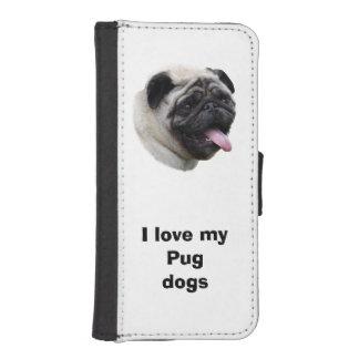 パグ犬ペット写真のポートレート iPhoneSE/5/5sウォレットケース