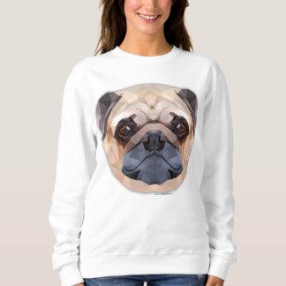 パグ犬、抽象美術、女性の基本的なスエットシャツ スウェットシャツ