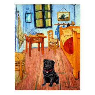 パグ17 (黒) -部屋 ポストカード