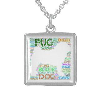 """パグ""""単語雲""""の純銀製の正方形のネックレス スターリングシルバーネックレス"""