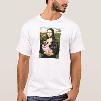 パグ(子鹿 + Blk) -モナ・リザ Tシャツ