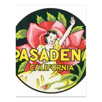 パサデナカリフォルニアのヴィンテージ旅行ポスターアートワーク ポストカード