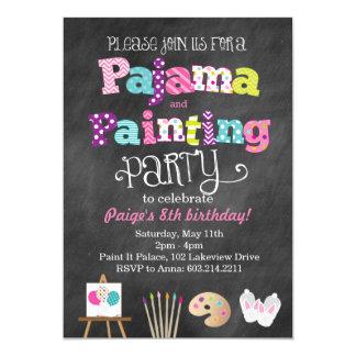 パジャマおよび絵画の黒板のスタイルの招待状 カード