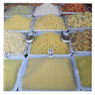 パスタ、穀物、バスケット、イタリアンな食糧、市場 正方形タイル大