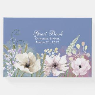 パステルによっては青い結婚式の来客名簿が開花します ゲストブック